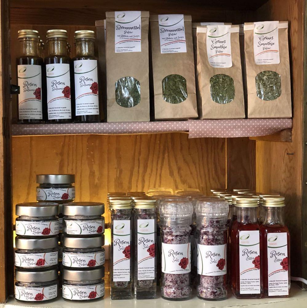Eine kleine Palette von Waldgarten-Produkten